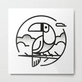 Toucan Black & White Metal Print