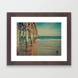 Fishing Pier Surf City Beach Topsail Island NC Vintage Colors Framed Art Print