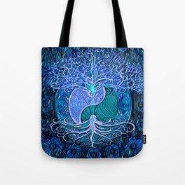 Tree of Life Yin Yang Blue Tote Bag