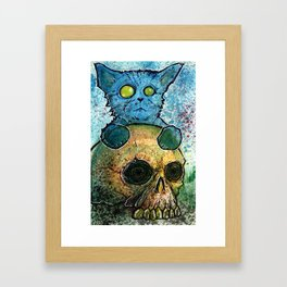 Blue Cat on a Skull Framed Art Print