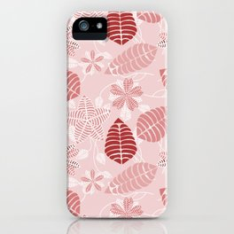 Red and White Floral Leaf Pattern shades of red iPhone Case