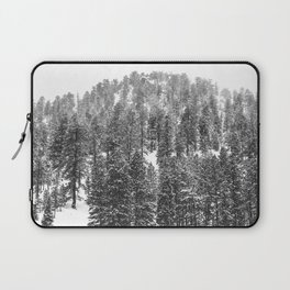Mountain Snowfall // Snowy Peak Winter Landscape Photography Black and White Art Print Laptop Sleeve