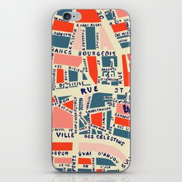 paris map blue iPhone Skin