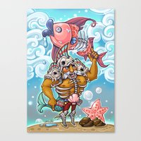 gladiator Canvas Prints featuring Fish Gladiator by Tina Ho