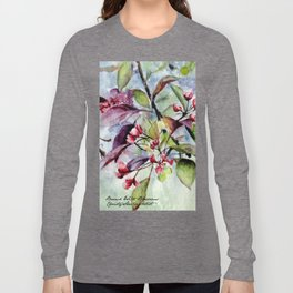 Branch With Blossoms Watercolor Long Sleeve T-shirt