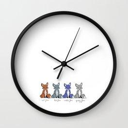 Cute Kawaii North American Fox Types Arctic Kit Red Gray Wall Clock