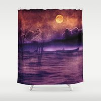 trip Shower Curtains featuring purple trip by Viviana Gonzalez