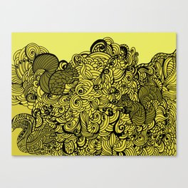 Squirrels Zentangle Drawing Yellow Canvas Print