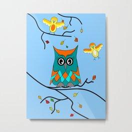 Owl And Birds Metal Print
