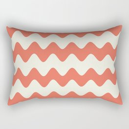 Pantone Living Coral & Cannoli Cream Soft Zigzag Rippled Horizontal Line Pattern Rectangular Pillow
