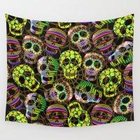 sugar skulls Wall Tapestries featuring Sugar Skulls Pattern by BluedarkArt