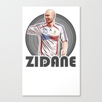 zidane Canvas Prints featuring Zidane Gray Circle by Sport_Designs