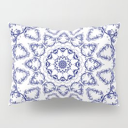 White Blue pattern Pillow Sham