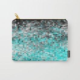 Aqua Gray Pixels Carry-All Pouch