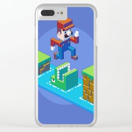 Isometric Mario pixel art Clear iPhone Case
