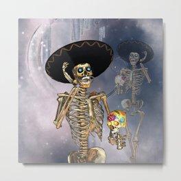 Funny sugar skull skeleton Metal Print