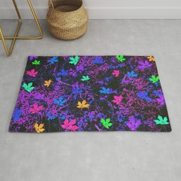 colorful maple leaf with purple and blue creepers plants background Rug