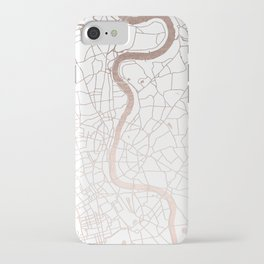 White on Rosegold London Street Map iPhone Case