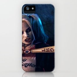 Harley Quinn - The Clown Princess Of Gotham With Her Goodnight Bat iPhone Case