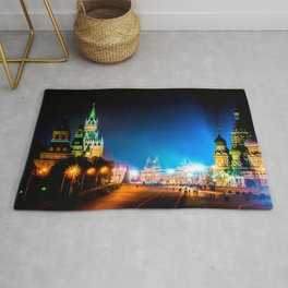 Moscow Kremlin And Red Square At Winter Night Rug