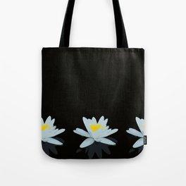 Waterlily Flowers On Black Background #decor #society6 #buyart Tote Bag