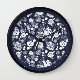 Summer Garden Indigo Floral Pattern Wall Clock