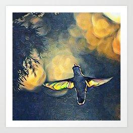 Golden Blue Hummingbird by CheyAnne Sexton Art Print