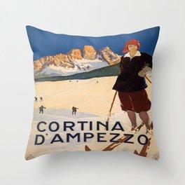 Vintage poster - Cortina d'Amprezzo Throw Pillow