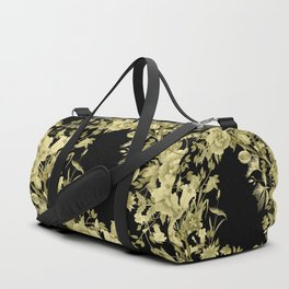Stardust Black and Gold Floral Motif Duffle Bag