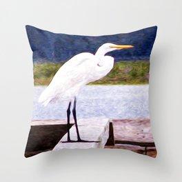 Egret Regret Throw Pillow