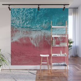 SPLASH III - Electric Pink Sand and Turquoise Waves Art Print Wall Mural