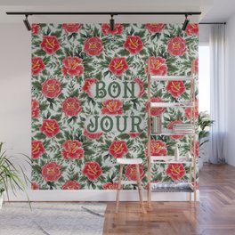 Bonjour - Vintage Floral Tattoo Collection Wall Mural