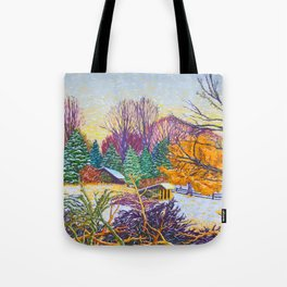 Horse Shed in Winter Tote Bag