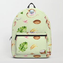 Cute pink brown watercolor hand painted monkey floral pattern Backpack