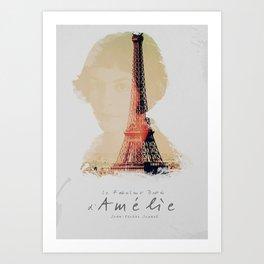 Amelie, minimalist movie poster, french film playbill, the fabulous life of Amélie Poulain, Art Print