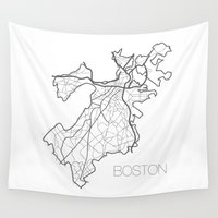 boston Wall Tapestries featuring Boston by linnydrez
