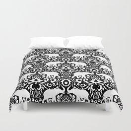 Elephant Damask Black and White Duvet Cover