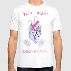 Your heart is unbreakable  White MEDIUM Mens Fitted Tee