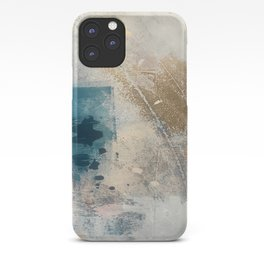 Embrace: a minimal, abstract mixed-media piece in blues and gold with a hint of pink iPhone Case