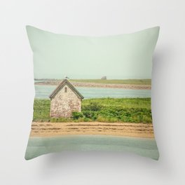 Little Beach House with Seagull Atop Throw Pillow
