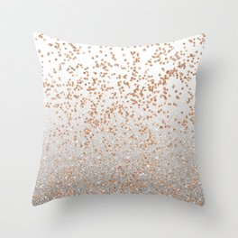 Glitter sparkle mix - rose gold & silver Throw Pillow