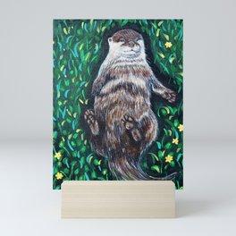 Relaxed River Otter Painting Mini Art Print