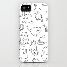 Cat Space - Black and White Funny Kitty Pattern Slim Case iPhone SE