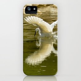 The heron lays on the placid river... iPhone Case