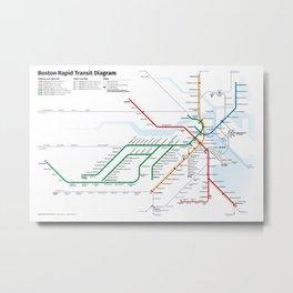 Boston Rapid Transit Map Metal Print