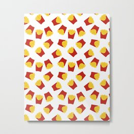 FRENCH FRIES POMMES FAST FOOD PATTERN Metal Print