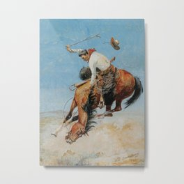 """""""Swapping Ends"""" Cowboy Art by Edward Borein Metal Print"""