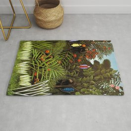 Exotic Jungle Landscape with Monkeys and Birds by Henri Rousseau Rug