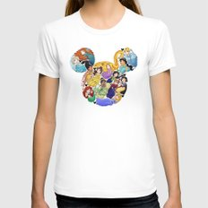 Princess Mickey Ears SMALL Womens Fitted Tee White