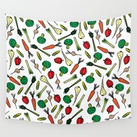 vegetables Wall Tapestries featuring Vegetables 1 by Studio Hey Mate